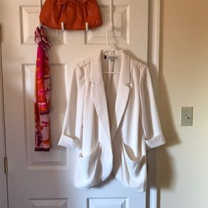 JLo lightweight ivory jacket. Off white blazer,